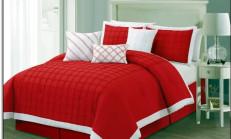 Kırmızı Beyaz Yatak Örtüleri