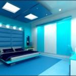 Cam Göbeği Mavisi Modern Yatak Odası