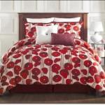 Çiçek Desenli Kırmızı Beyaz Yatak Ötüleri