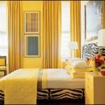 Sarı Renk Duvar Yatak Odası
