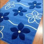 Çiçek Motifli Mavi Halı Modelleri