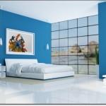 Dekoratif Mavi Yatak Odası
