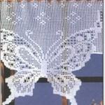 Kelebek Desenli Dantel Mutfak Perdeleri