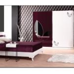 Modern Bordo Yatak Odası