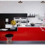 Kırmızı Siyah Mutfak Dolapları