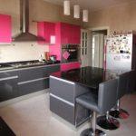 Fuşya Rengi Mutfak Dolapları